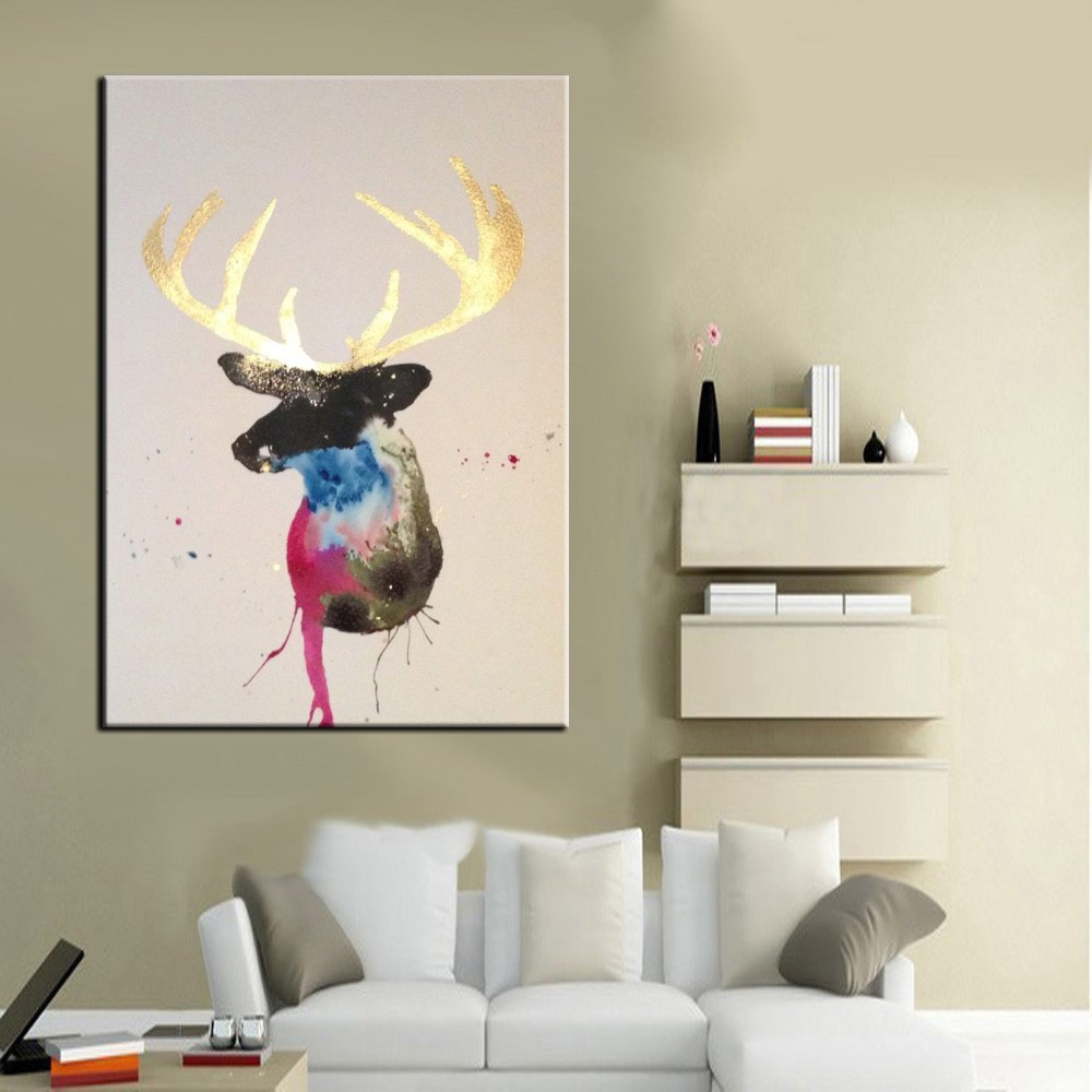 2015 New Item Best Quality Cheap Price In Hand Animal Series Stag Oil Painting On Canvas For Decorating Living Room