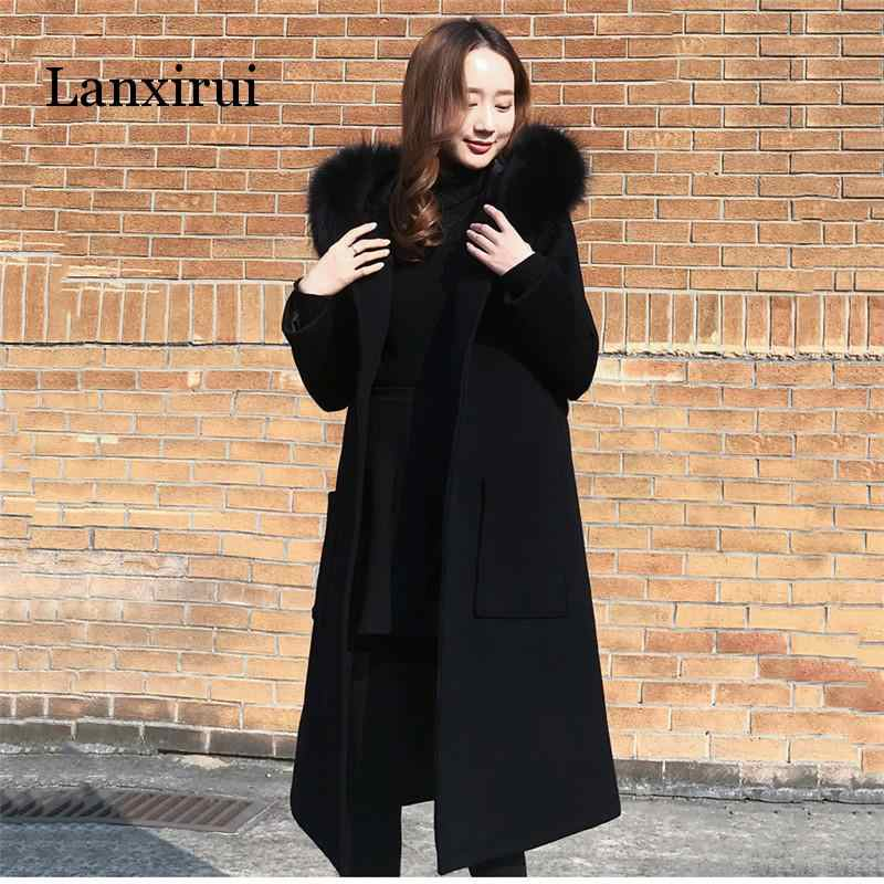 Black Woolen Coat 2019 Winter Women Jacket New Fashion With Fur Collar Hooded Outerwear Mid Long Slim Female Blends Coats