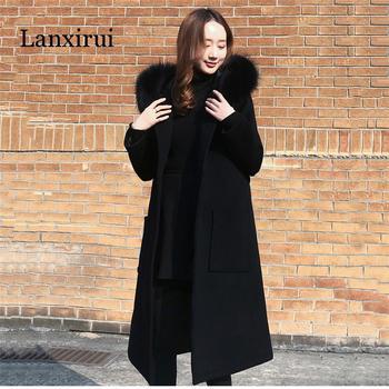 Black Woolen Coat  Winter Women Jacket New Fashion With Fur Collar Hooded Outerwear Mid Long Slim Female Blends Coats