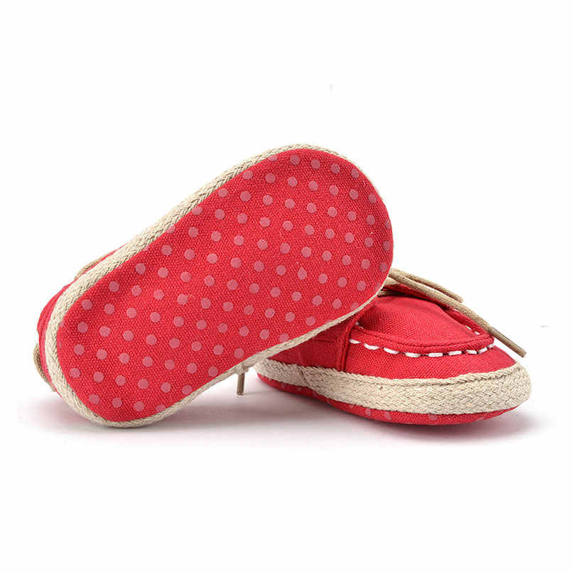 1 זוגות 0-תינוק 18 חודש כחול אדום תחתון רך נעליים מזדמנים בני בנות נעליים פעוטה החלקה מחצלות לשחק הלמידה Walk נעלי שרוכים
