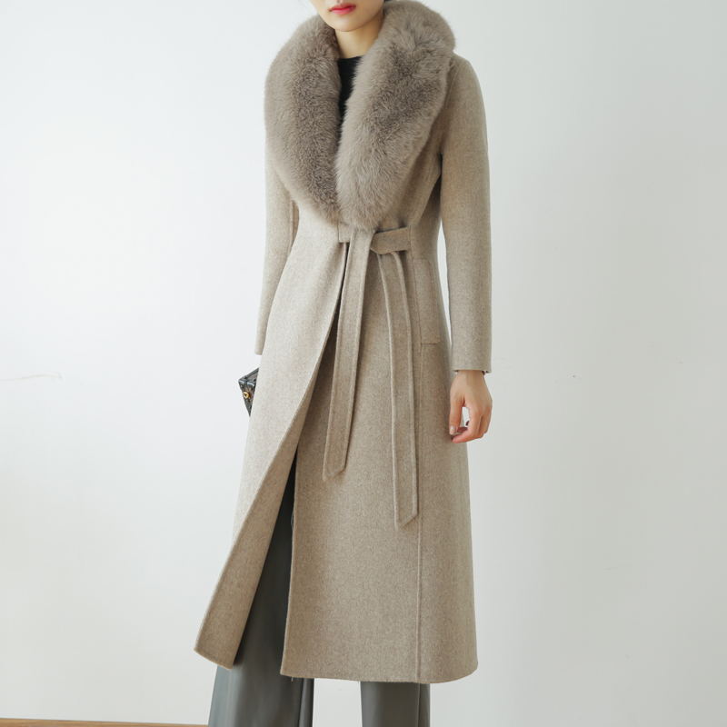 Autumn Winter Fashion Rf0191 100% Real Wool Cloak Women With Real Fox Fur Collar Removable Woolen Coat