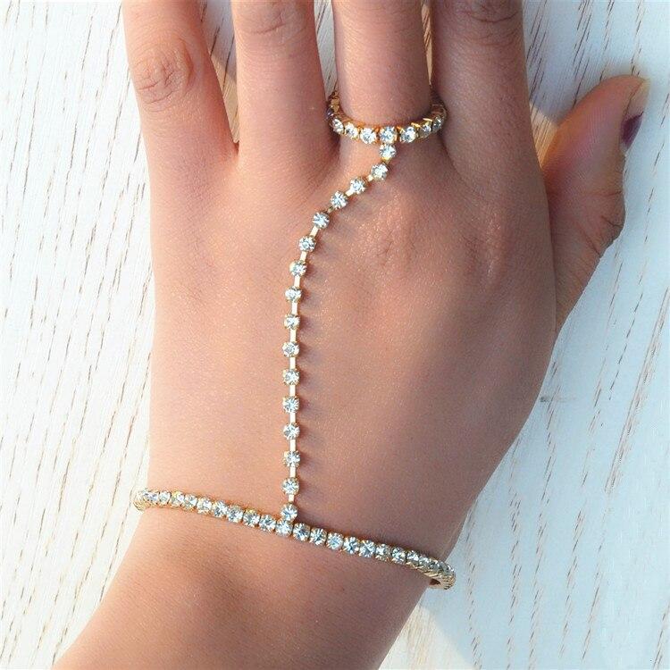 New Gold Luxury Rhinestone Bracelet Crystal Hand Chain Slave Bracelet Hand Finger Bracelets Women Bridal Wedding Jewelry