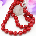 New fashion artificial coral red stone jasper 10mm round beads chain necklace for women choker clavicle diy jewelry 18inch B3212