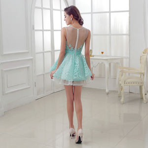 Image 2 - New Arrival Short Mint Homecoming Dresses with Lace Beading Appliques Illusion Sleeveless Graduation Party Cocktail Gowns OL313