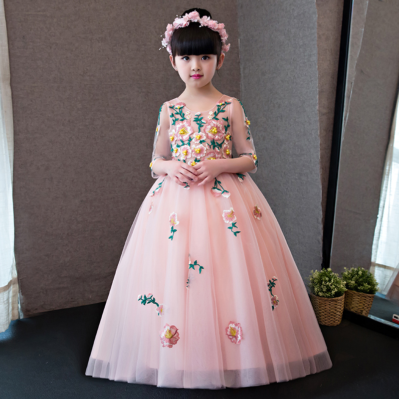 Luxury Flower Girl Dresses Ball Gown Embroidery Kids Dresses for Girls Beading Girls Pageant Dress for Wedding Birthday Party flower girl dresses sleeveless v neck kids dresses for girls ball gown appliques girls dress pageant for wedding birthday party