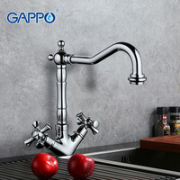 Gappo New Silver Swivel Antique Brass Tall Kitchen Faucets 2 Dual Handle Mixer Tap Kitchen Taps