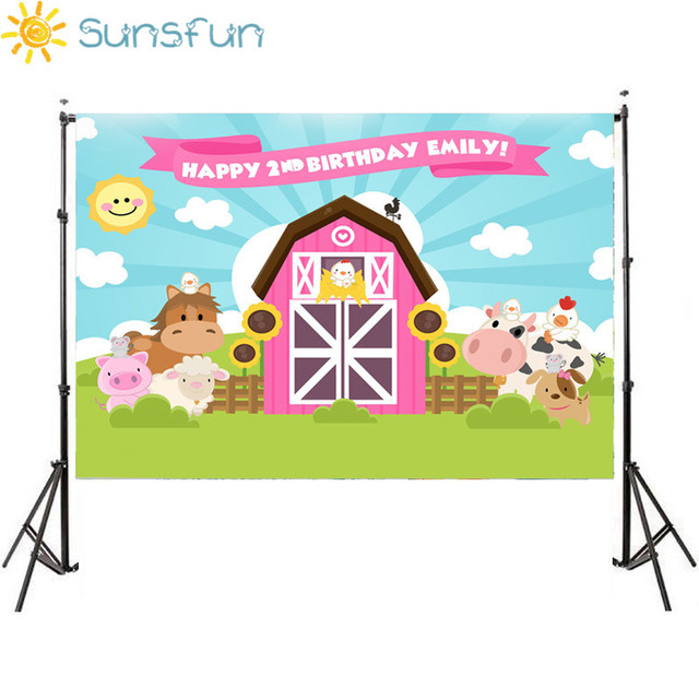 Sunsfun Farm Theme Photography Backdrop Pink Barn Animals Barnyard House Kids Birthday Background Photo Studio New Photocall