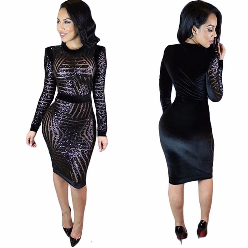 Fashion Women Dress Sexy Long Sleeve Black Metal Sequin Ikeacasa, Free Shipping