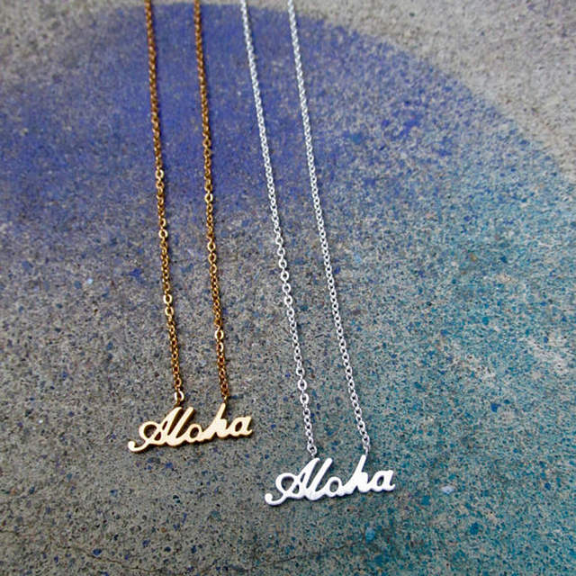 US $1 76 20% OFF|Fashion Quote Necklace Women Charm Aloha Pendants  Necklaces Hawaiian Jewelry Stainless Steel Best Friend Gifts Collier Femme  Bff-in