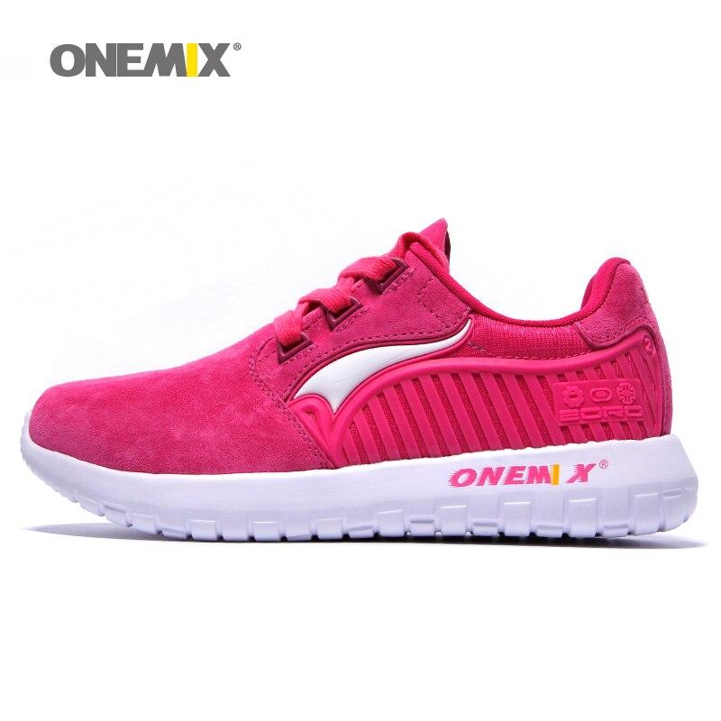 ONEMIX femme chaussures de course pour femmes Nice rétro daim course athlétique baskets Rose en peau de cochon sport chaussures de marche en plein air
