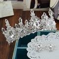Europeo novia queen barroco Rhinestone corona de pelo blanco tocado de la princesa hairband accesorios