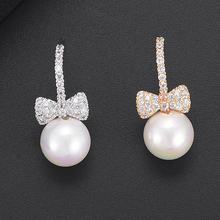 SISCATHY Elegant Cubic Zirconia Bowknot Simulated Pearl Earrings For Women Bridal Wedding Stud Fashion Jewelry