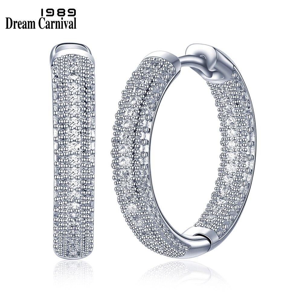 100% QualitäT Dreamcarnival 1989 Neuheiten Rhodium Farbe Luxus Hoop Ohrringe Für Frauen Funkelnden Weiß Zirkonia Femme Aretes Se24112 Dauerhafter Service
