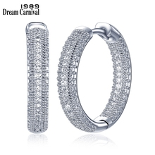 DreamCarnival 1989 New Arrivals Rhodium Color Luxury Hoop Earrings for Women Sparkling White Cubic Zirconia Femme Aretes SE24112