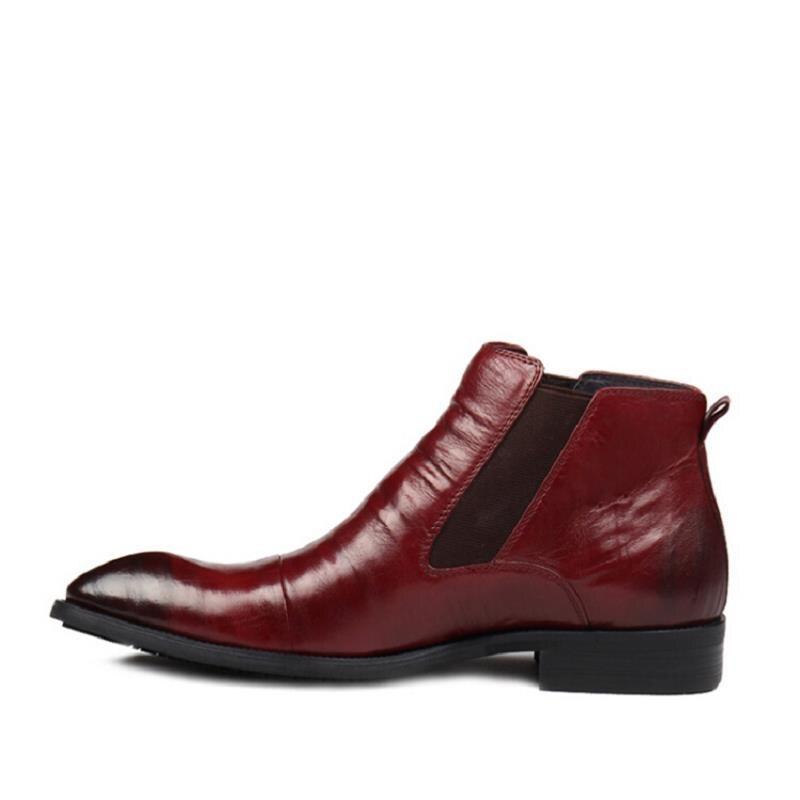 De Homens Calçado Inverno Couro Botas Ao Ar Bota Livre Sapatos vermelho Confortável Vinho Mycolen Para Chelsea Retro Dos Borracha Masculino Preto qtn5xf