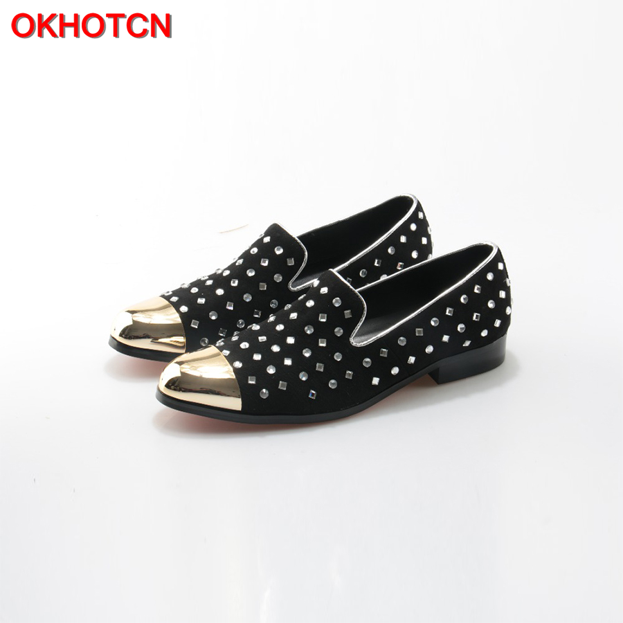 OKHOTCN Handmade Black Suede Men Shoes Rhinestone Studded Gold Metal Toe Party and Banquet Men Dress Loafers Fashion Mens Flats black suede studded mini skirt
