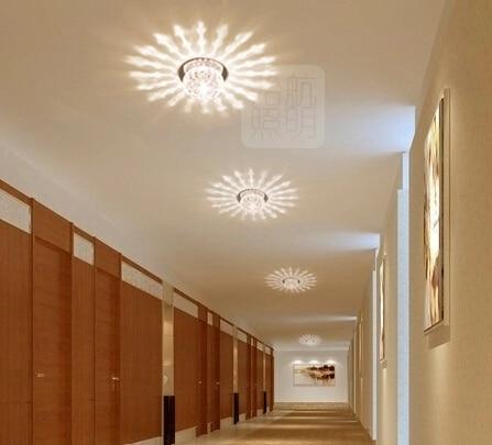 3 W moderne slaapkamer woonkamer plafondlamp balkon led crystal lamp ...