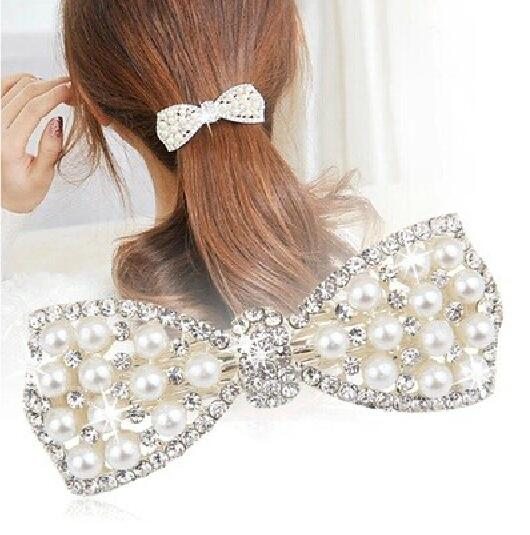 New Bowknot Gold Silver Plated Crystal Pearl Barrettes Hair Clip Hairpin Headwear For font b Women