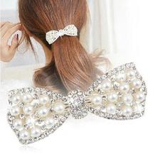 New Bowknot Gold Silver Plated Crystal Pearl Barrettes Hair Clip Hairpin Headwear For Women Fashion Hair Jewelry Accessories