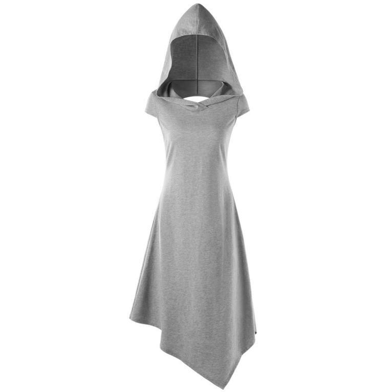 Cotton T shirt dress Hollow backless V Neck Hooded