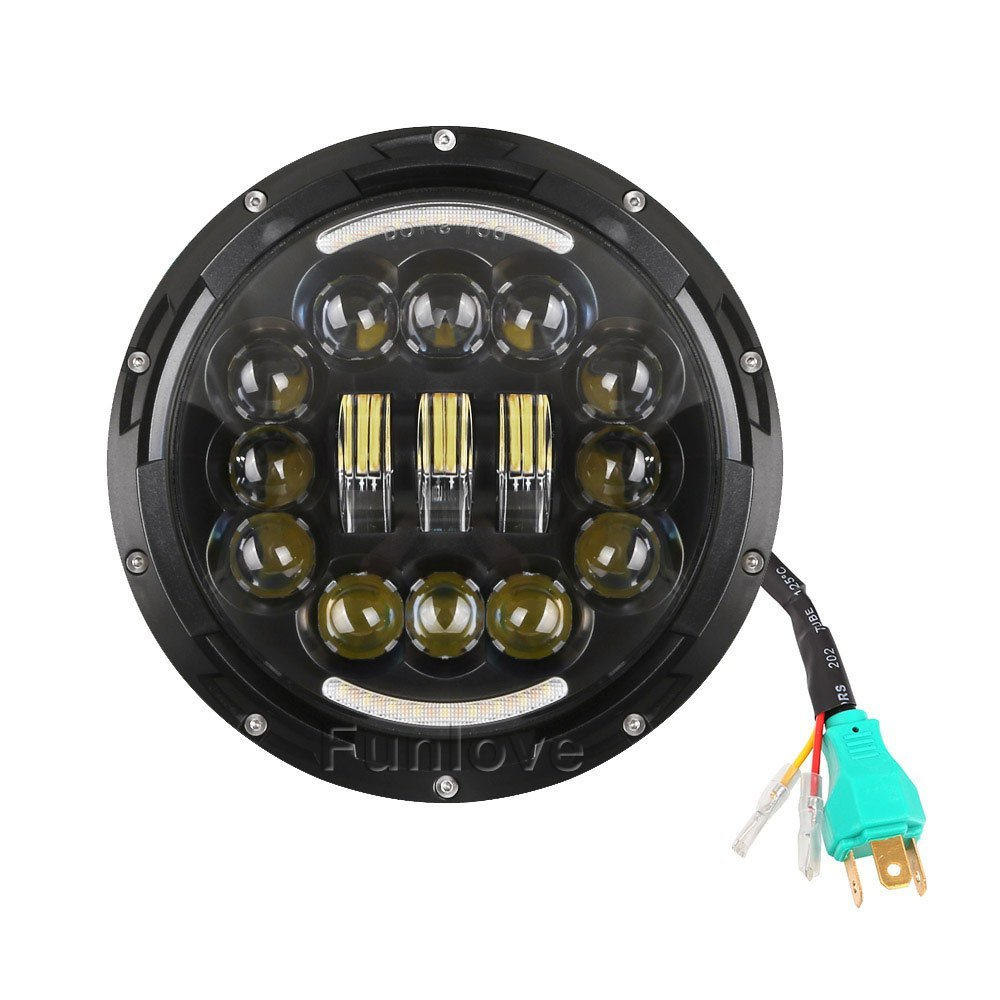 WHDZ 7 Inch Motorcycle LED Headlight Angle Eyes with Turn Signal Halo DRL for Harley Davidson Daymaker Jeep Wrangler