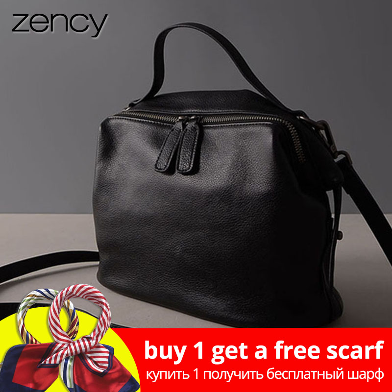 Zency Retro Black Women Handbag 100% Genuine Leather Lady Casual Tote Fesyen Perempuan Crossbody Messenger Purse Grey Shoulder Bag