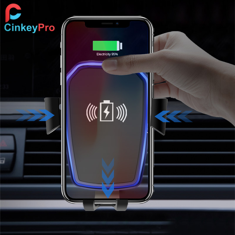 CinkeyPro Cargador de coche inalámbrico para iPhone X 8 XS Samsung - Accesorios y repuestos para celulares