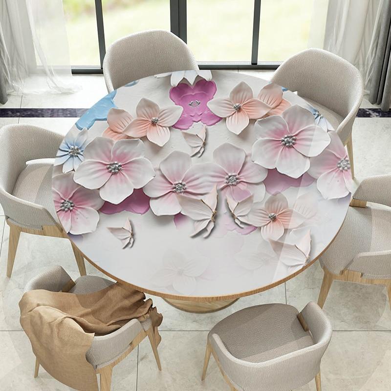 2019 새로운 3d 꽃 pvc 식탁보 라운드 thicnness 방수 테이블 매트 크리스탈 플레이트 식탁보 고온 방지-에서식탁보부터 홈 & 가든 의  그룹 1