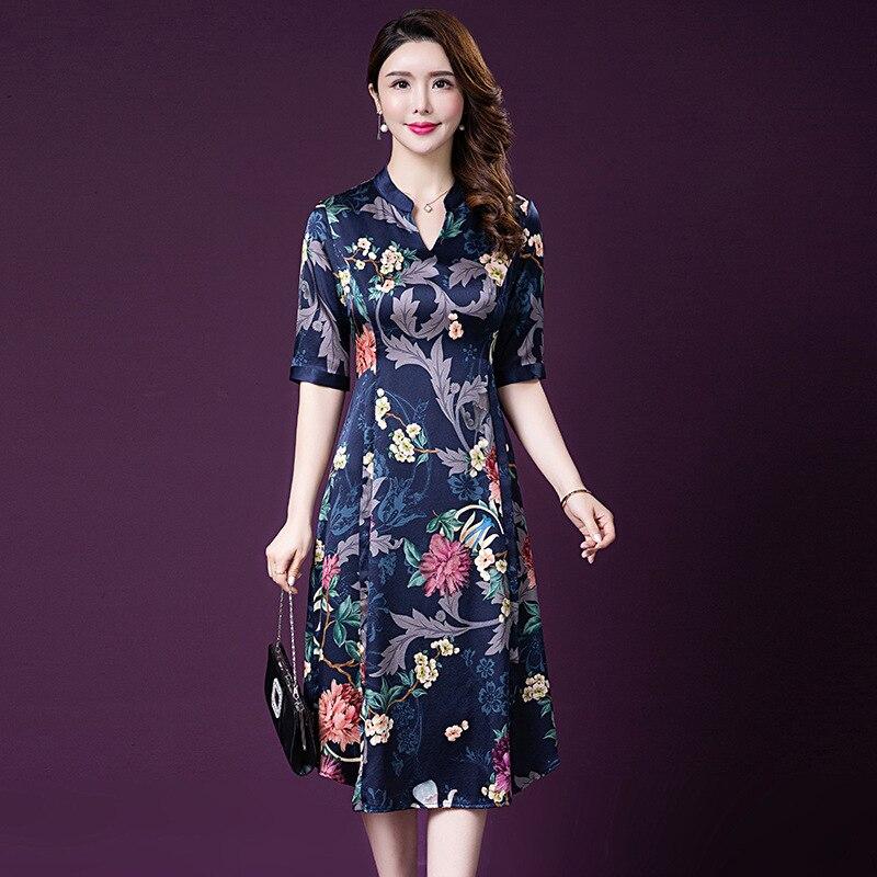 Real Heavy Silk Dress Women High Quality Blue Red Flower Printing Dress Long Summer Dress 2019 Fall Plus Size Dress 4XL 5XL