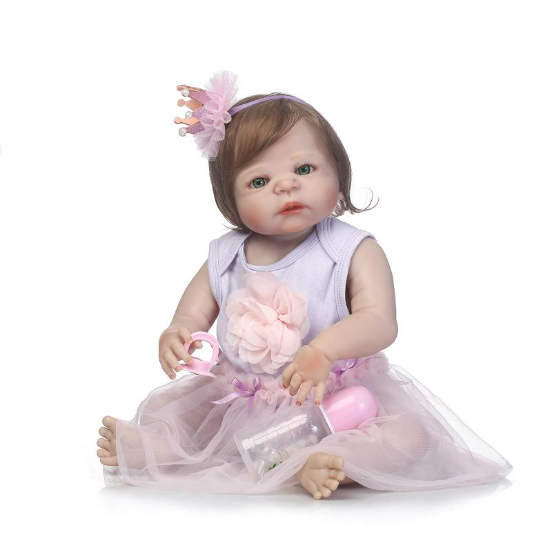 56cm Full Silicone Baby Doll Fiber Hair Baby Lifelike Girl Doll Bebe Reborn Toy Kids Fashion Toy Children New Year Birthday Gift beiens furniture doll 19 pcs children kids baby girl s cute lovely toy fashion makeup chair make up table set dresser