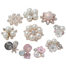 Pearl Rhinestone Embellishments Buttons Flatback Decorative For Handicraft Bowknot Flower Decoration DIY Craft Supplies 10pieces