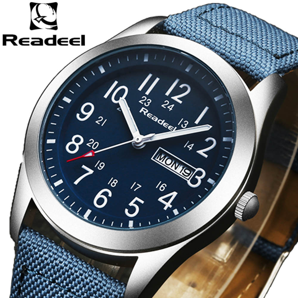 Readeel Luxury Brand Military Watches Men Quartz Analog Canvas Clock Man Sports Watches Army Military Watch Relogios Masculino skmei luxury brand military watch men quartz analog clock nylon strap clock man sports watches army relogios masculino