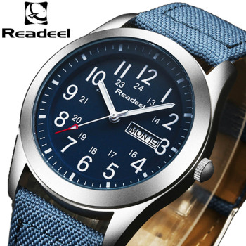 цена на Readeel Luxury Brand Military Watches Men Quartz Analog Canvas Clock Man Sports Watches Army Military Watch Relogios Masculino