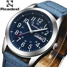 Readeel relojes militares para hombre, de cuarzo, analógico, de lona, deportivos, militares, Masculino