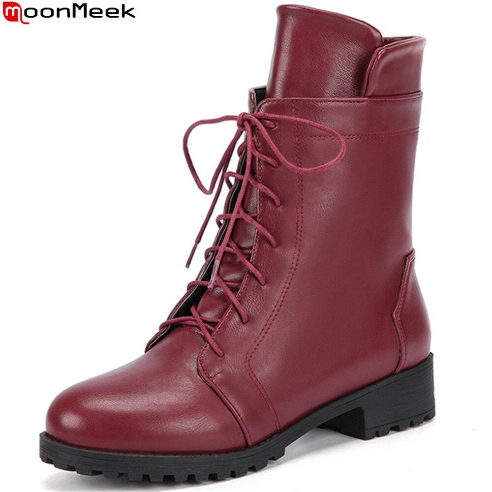 MoonMeek 2018 vendita calda nuova arriva donne stivali nero bianco vino rosso signore stivali punta rotonda zipper croce legato caviglia stivali