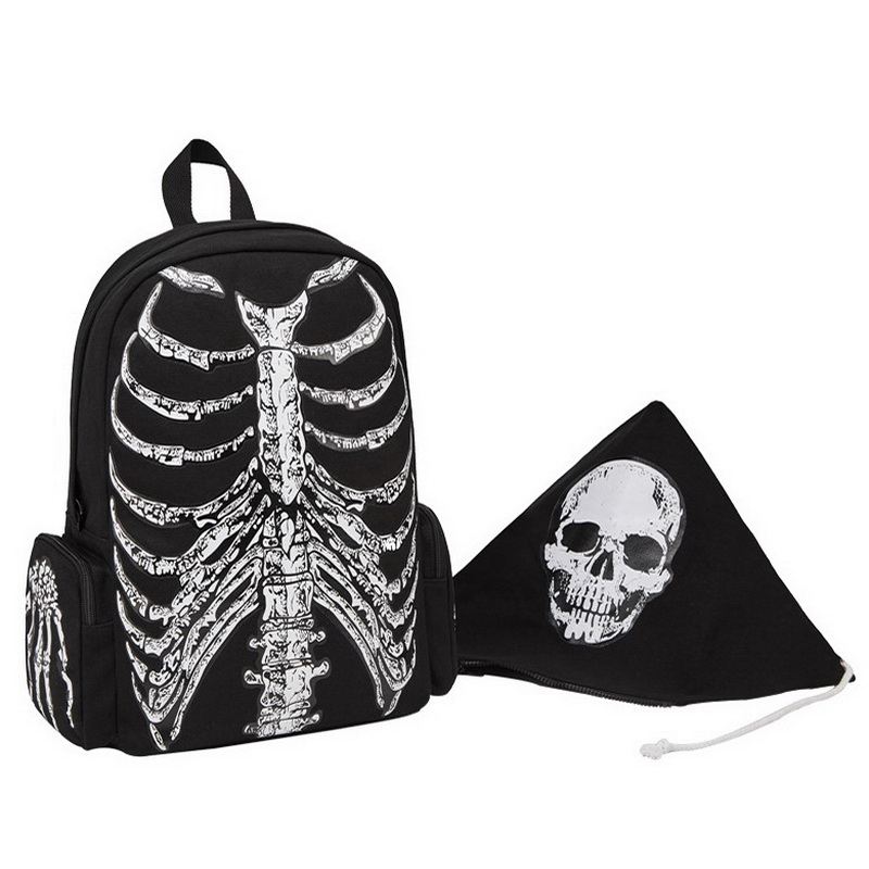 Image 2 - DIINOVIVVO Gothic Women Backpack School Punk Skull Skeleton 
