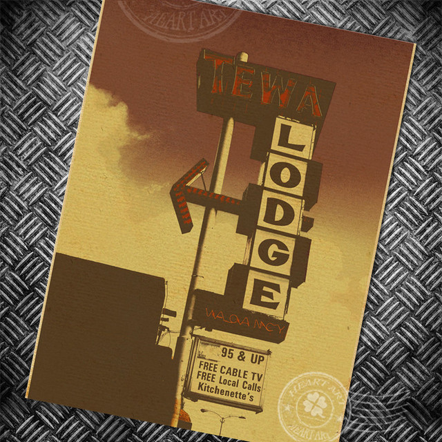 USA ROUTE 66 LODGE Vintage paper poster retro wall art painting bar ...