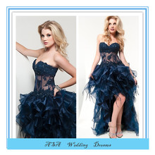 Hot sale Front short long back Layered See through girls party dress prom dresses Cocktail party dress 2015 (YASA-840)