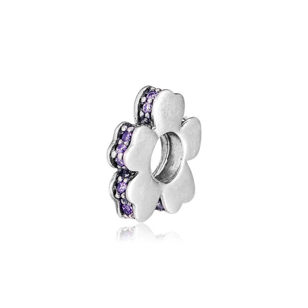 Abby Jewelry S925 Sterling Silver Wildflower Meadow Spacer Lilac Crystals Charms Bead Fits European DIY Charms Bracelets Necklaces