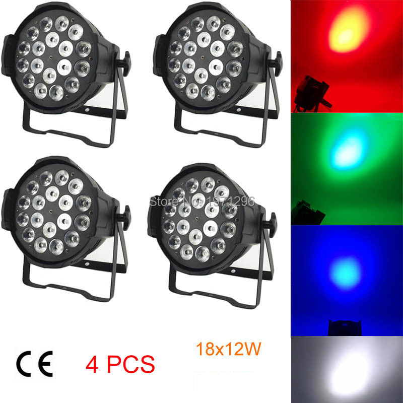 4Pcs 18x12W LED Par Light RGBW Disco Lamp Stage Light Luces Disco Discoteca  Beam luz de Projector Lumiere Dmx Controller 2017 led show panel flat led par light 9x4w rgbw rgb uv disco lamp stage lights luces discoteca laser beam projector lumiere