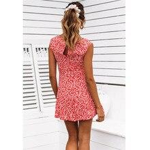 2019 New Summer Boho Women Bandage Sundress Flowers V-Neck Swing Dress Ladies Floral Mini Dress Party Gown Dress Women Clothes