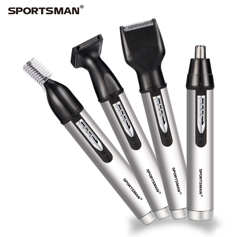 SPORTSMAN Nose Hair Trimmer Rechargeable Male 4-in-1 Electric Shaver For Men Trimmer Beard Nose Ear Eyebrow Hair Cutting Set male switchblade shaver grooming remover hair trimmer 2 in 1 mustache beard eyebrow hair trimmer shaver hair remover set