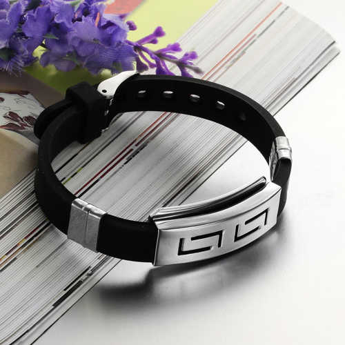 2018 Punk Rubber Stainless Steel Wristband Clasp Cool Cuff Bangle Men's Black Bracelet