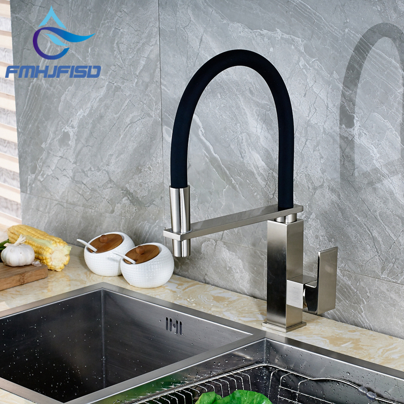 Brushed Nickel Kitchen Faucet Swivel Spout Vessel Sink Mixer Tap Single Handle Hole kitchen sink vessel faucet single hole washbasin sink mixer tap torneira da cozinha swivel spout