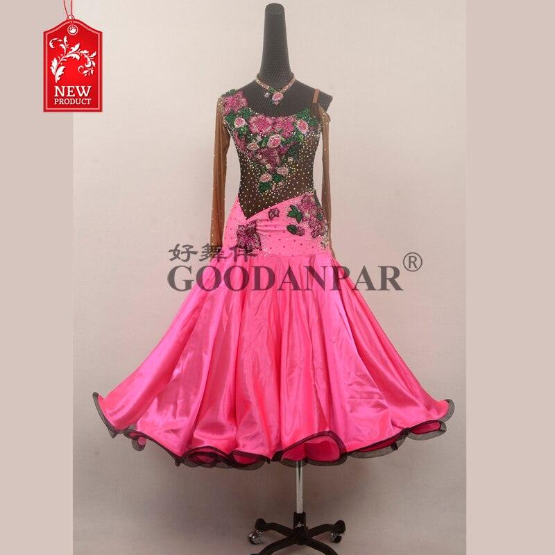 Nouvelle robe de danse de salon robes de compétition de danse de salon robe de Tango de valse moderne lycra rose robe résille Sexy femmes maille