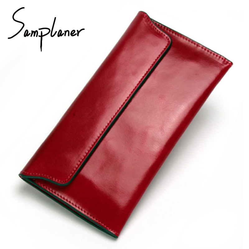 Samplaner Genuine Leather Long Wallets Women Clutch Bags Magnetic Buckle Solid Wallet Female Leather Purse Ladies Cards Holder
