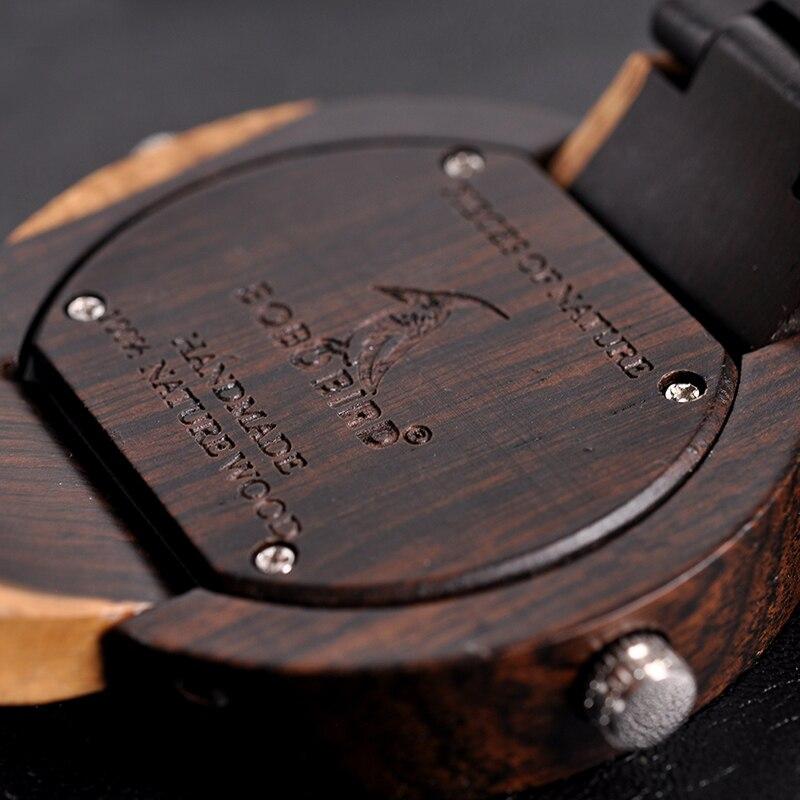 Watch Men 2 Time Zone Wooden Quartz Watches Women Design Men's Gift Wristwatches In Wooden Box W-R10 3