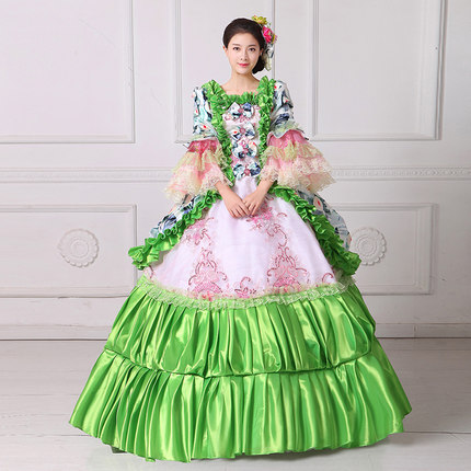100%real green ruffled flower Medieval Renaissance ball gown Sissi ...