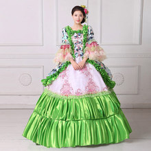 100%real green ruffled flower Medieval Renaissance ball gown Sissi princess dressVictorian/Marie Antoinette/Colonial Belle Ball