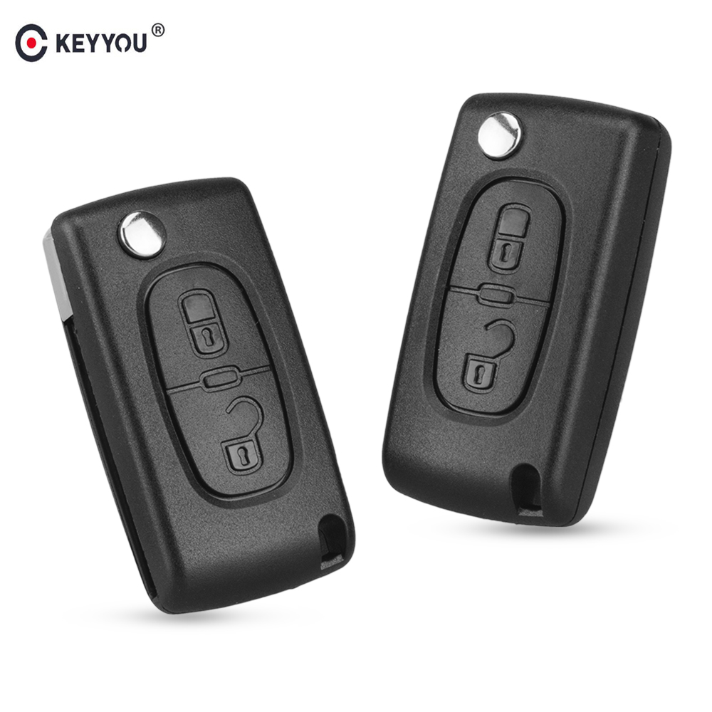 KEYYOU 2 Buttons Flip Folding Key Case Blank Shell For Peugeot 107 207 307 307S 308 407